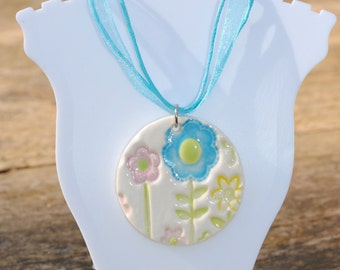 Ceramic flower necklace