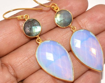 opalite earrings with labrodride round shape