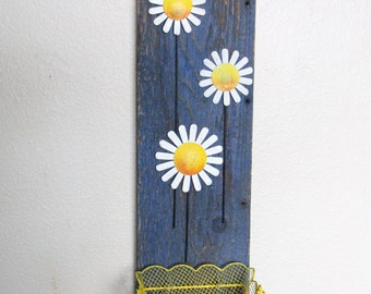 Yellow Basket Dancing Daisies Wooden Wall Art Home Decor