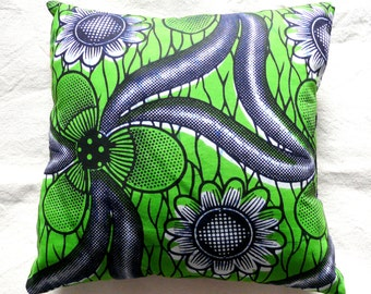 """Cushion 33 x 33 cm in green, indigo blue Wax African fabric with large flowers by """"Aunt CATH House"""""""