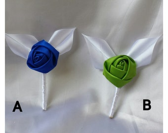 Satin boutonnieres Fabric boutonnieres Groomsmen boutonniere wedding boutonnieres Rose boutonniere Blue boutonnieres Lime boutonniere women