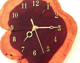 Handmade red cedar clock