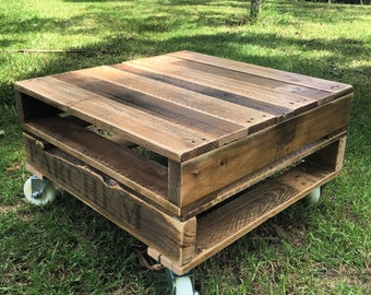 Rustic Pallet Coffee Table on Castors - Shipping NOT Included