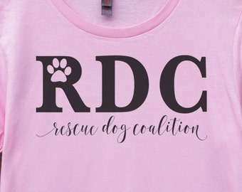 The Rescue Dog Coalition Logo Tee in Pink