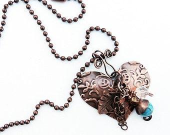Copper Metalwork Heart Pendant
