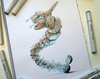 Pokemon Onix get catched, a Copic markers original sketch