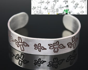 Custom Cuff Bracelet with Etched Signature or Drawing.