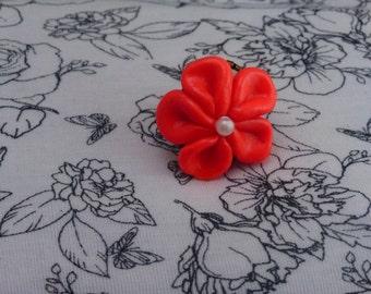 Handmade Polymer Flower Adjustable Ring