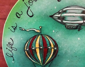 Hot air balloon ornament-zeppelin-whimsical-sky-night-red-grey-wedding-anniversary-new home-life-journey-blue-green-balloon-fly-flying-paint