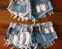Sexy American Flag Shorts Ripped Denim Shorts Cutoff Raw Frayed Denim Shorts Low Waist Denim Coachella Festival Wear Hippie Boho Shorts