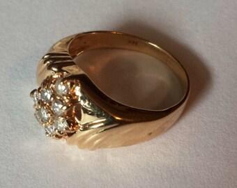 14K Yellow Diamond Ring, Size 5.5