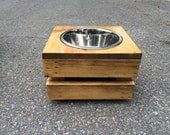 "Feeding Stand - Elevated Dog Feeder - Raised Dog Feeder - Dog Bowl - Rustic Dog Bowl Feeder - Single 9"" Bowl - Palletized - Very Sturdy"