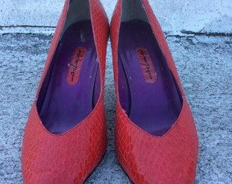 SPRING SALE- Vintage 1980s Red Snakeskin Heels, Size 6