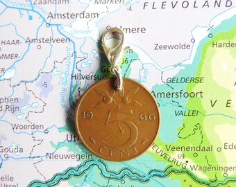 Netherlands penny coin charm in birth year 1970 - 1971 - 1972 - 1973 - 1974 - 1975 - 1976 - 1977 - 1978 - 1979 - 1980