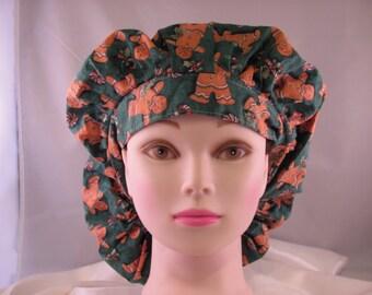 Women's Bouffant Scrub Hat Gingerbread