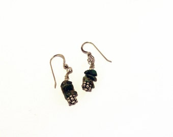 Sterling Silver and Green/Turquoise Stone Earrings