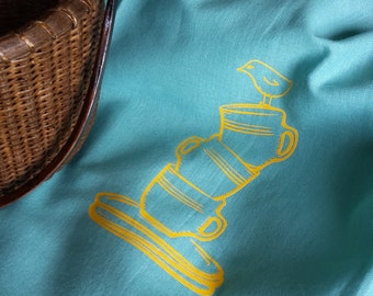 Teal and Yellow Kitchen Towel