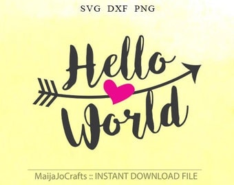Hello World Svg newborn digital files, DXF, files for cricut, silhouette cameo, Cricut downloads, Maternity, Newborn Svg Arrow Clipart Png