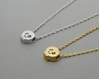 Skull necklace, Tiny skull necklace, Skull charm, Skull pendant, Christmas gift