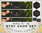 Etsy Banner - Watercolor Flowers on Chalkboard - Etsy Shop Set - Premade Logo - Calligraphy Logo - Coral - Green - Business Branding - 20