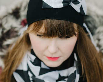 triangle hat with bow
