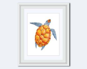 Sea Turtle Printable - sea turtle decor - Sea Turtle Print - kids gift - sea life print - beach decor - Sea life theme - watercolor turtle