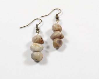 Lepidolite earrings with bronze accents