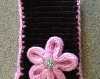 Handmade headband/ear warmer with flower