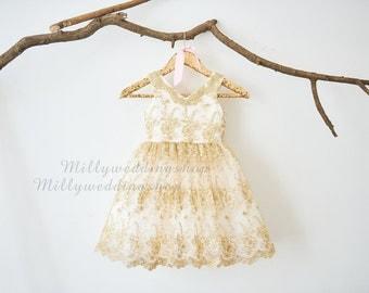 V Neckline Gold Lace Ivory Satin Flower Girl Dress Junior Bridesmaid Wedding Party Dress M0025