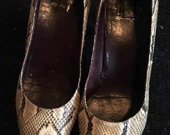 Snake skin vintage/retro heel shoes size 36 uk 3 taxidermy