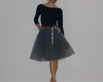 Tulle skirt petticoat light grey dark grey 55 cm length skirt