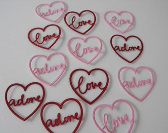 Die Cut Cardstock Love Heart Word Embellishment, Cards, Scrapbooks, Gifts, Tags, Decorations, Card Topper