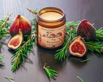 Scented Soy Candle FIG ROSEMARY, eco hand poured candles, vegan, christmas stocking,  4 oz