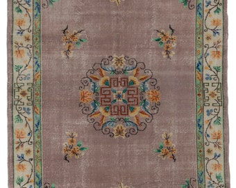 7x10 Ft  Art Deco Turkish Rug in Chinese design - Beautiful colors; mauve, rust, mustard, turquoise. Decorative vintage handmade carpet d563