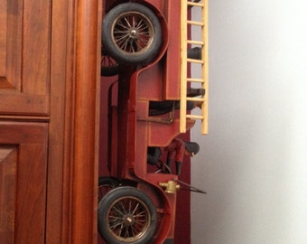 Handcrafted Wood and Metal Decorative Folk Art Fire Engine with Rolling Wheels, Ladders and Firemen