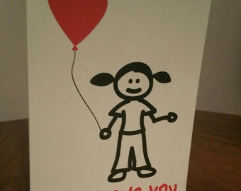 Little Girl 'Love You' Father's Day Greeting Card.