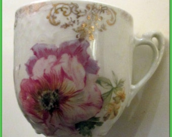 Mustache Cup--Vintage-Floral Pattern-Victorian-Lovely