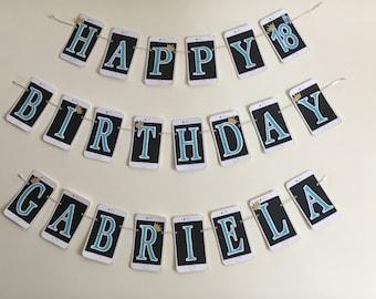 Birthday Banner, Smart Phone Birthday Banner, Black, White and Turquoise, Happy Birthday, 18th Birthday banner