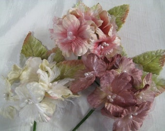 3 X Velvet Delphinium Flowers ,for Millinery, Brooches, jewelry supply and craft supply