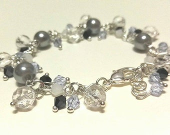 Grey Pearl Bracelet with Blue Bicone Beads