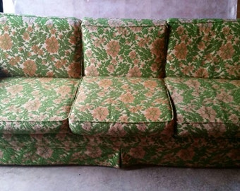 Mid-century yellow and green flower pattern couch in like new condition.