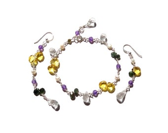 Gemstones, Sterling Silver, Earrings & Bracelet, Jewellery / Jewelry Set, Canary Yellow, Cubic Zirconia, Quartz, Amethyst, Tourmaline, Pearl