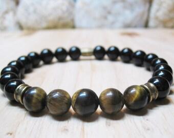 Mens Bracelet-Tiger Eye Bracelet-Black Onyx Bracelet-Energy Bracelet-Protection Bracelet-Power Bracelet-Spiritual Bracelet-Gift for Him