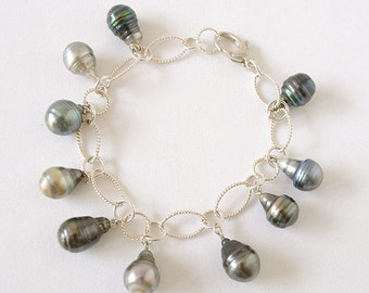 """Cultured Tahitian Pearl and Sterling Silver Chain Link Bracelet 8"""""""