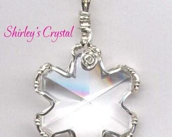 Serling Silver Swarovski Crystal Snowflake Wire Wrap Pendant, Large