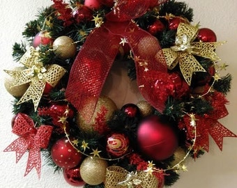 Christmas Wreath Red/Gold