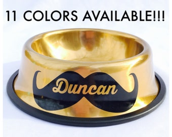 Personalized Dog Bowl with Name in Mustache-Dog Bowls-Pink-Blue-Gold-Mint-Red-Purple-Black-Personalized Dog Dish-Personalized Pet Bowl