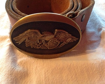 1976 solid brass belt buckle with leather belt
