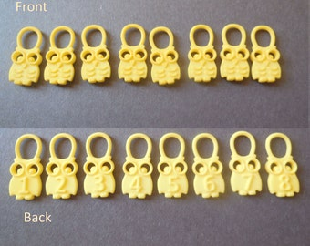Hedwig - Yellow Numbered Owl Stitch Markers in 3D Printed Plastic