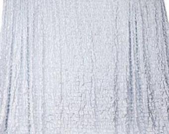 20ft x 10ft Flamenca Satin Ruffle Backdrop - White